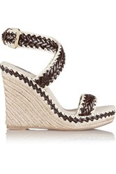 Tory Burch Paloma Leather And Linen Wedge Sandals Bronze