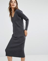 Paisie V Neck Ribbed Jumper Grey