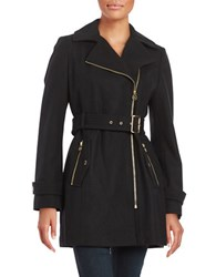 Michael Michael Kors Asymmetric Wool Blend Trench Black