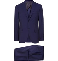 Mp Massimo Piombo Navy Slim Fit Wool And Mohair Blend Suit Blue
