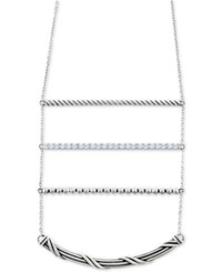 Peter Thomas Roth White Topaz 18 Ladder Necklace 9 10 Ct. T.W. In Sterling Silver