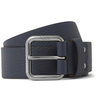 Tod's 3.5Cm Navy Full Grain Leather Belt Blue