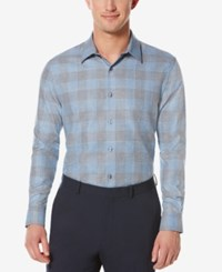 Perry Ellis Men's Obscured Buffalo Plaid Long Sleeve Shirt Provence