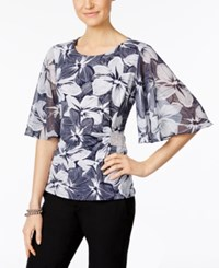 Msk Rhinestone Flutter Sleeve Evening Blouse Navy White