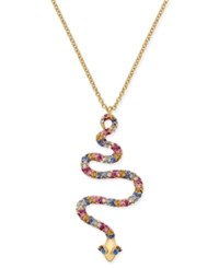 Kate Spade New York Gold Tone Colored Cubic Zirconia Snake Pendant Necklace Multi
