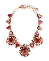 Oscar De La Renta Tiered Crystal Necklace Hot Pink
