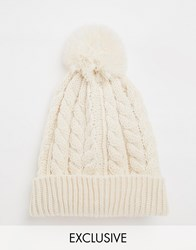 Reclaimed Vintage Bobble Beanie In Oatmeal