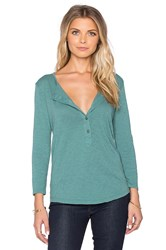 Velvet By Graham And Spencer Candiss Cotton Slub Button Up 3 4 Sleeve Top Green
