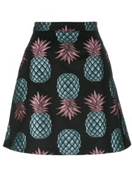 House Of Holland Pineapple Skater Mini Skirt Black