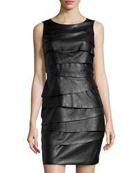 Vakko Tiered Layered Faux Leather Dress Medium