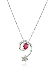 Incanto Royale Ruby And Diamond Star 18K Gold Pendant Necklace Silver