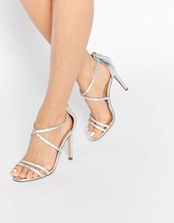 Aldo Arenani Silver Cross Front Heeled Sandals Silver