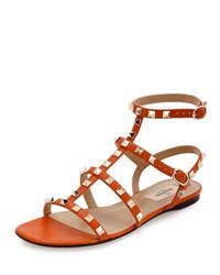 Valentino Rockstud Leather Flat Sandal Orange Petal