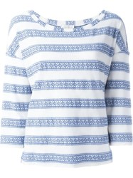 Forte Forte Three Quarter Sleeve Woven Top Blue