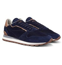 Brunello Cucinelli Leather And Suede Trimmed Mesh Sneakers Navy
