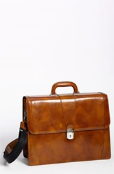 Bosca Men's Double Gusset Briefcase Brown Amber