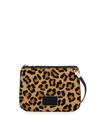 Ligero Leopard Print Calf Hair Double Percy Crossbody Bag Black Multi Marc By Marc Jacobs