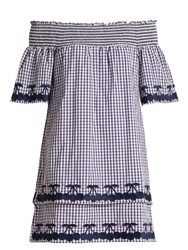 Bliss And Mischief Off The Shoulder Gingham Cotton Dress Blue White