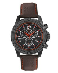 Versus By Versace 45Mm Aventura Oversized Chronograph Watch Black
