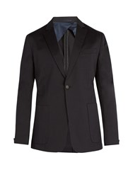 Kilgour Single Breasted Cotton Blend Blazer Navy