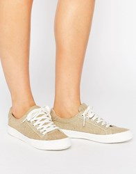 Asos Darby Lace Up Trainers Natural Hessian Beige
