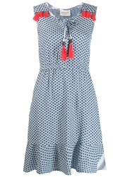 Cecilie Copenhagen Tassel Check Print Dress Blue