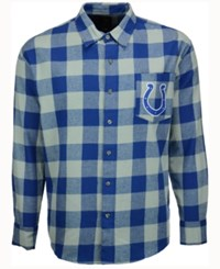 Forever Collectibles Men's Indianapolis Colts Large Check Flannel Button Down Shirt Blue Gray Plaid