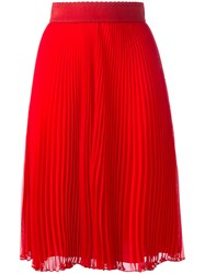 Givenchy Plisse Mid Length Skirt Red