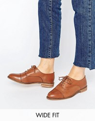 Asos Muse Wide Fit Lace Up Flat Shoes Tan