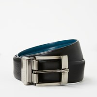Ted Baker Longas Reversible Leather Belt Black Turquoise