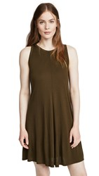 Three Dots Vintage Jersey Swing Dress Olive Branch