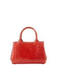 Nancy Gonzalez Crocodile Rectangle Tote Bag Bright Red