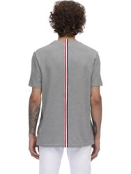 Thom Browne Intarsia Band Cotton Jersey T Shirt Light Grey