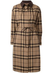 Loveless Drawstring Waist Check Coat Brown