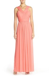 Women's Alfred Sung Shirred Chiffon V Neck Gown