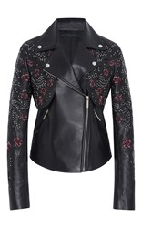 Elie Saab Embroidered Leather Jacket Black