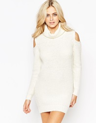 Fashion Union Roll Neck Ribbed Mini Dress With Open Shoulder Cream
