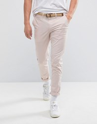 Pull And Bear Pullandbear Slim Chinos With Belt In Pink Pink