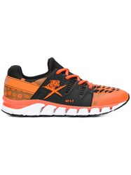 Plein Sport Lace Up Tiger Sneakers Yellow And Orange
