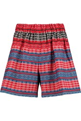 M Missoni Cotton Blend Tweed Shorts Red