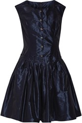 Dolce And Gabbana Pleated Silk Taffeta Dress Navy