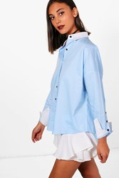 Olivia Contrast Collar And Cuff Button Sleeve Shirt