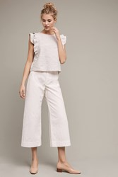 Anthropologie Logan Cropped Wide Leg Trousers Cream