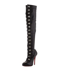 Christian Louboutin Top Croche Over The Knee Red Sole Boot Black Size 36.5B 6.5B Black Dkgun