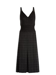Bottega Veneta Checked Wool Blend Pencil Dress Grey Multi
