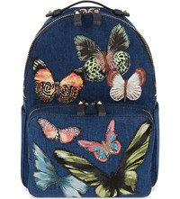 Valentino Embroidered Butterfly Denim Backpack