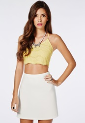 Missguided Cross Back Lace Bralet Lemon Yellow