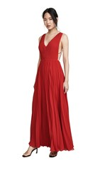 Fame And Partners Multi Strap Pleated Gown Cherry Red