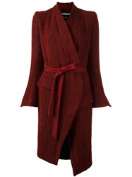 Ann Demeulemeester Belted Cardi Coat Red