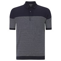 John Smedley Viking 3 Button Polo Shirt Navy White